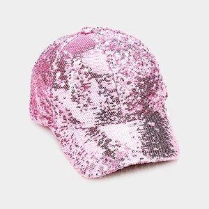 Trendy Hot Pink Sequin Baseball Cap